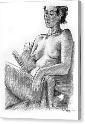 Seated Nude Reading Figure Drawing Canvas Print by Adam Long