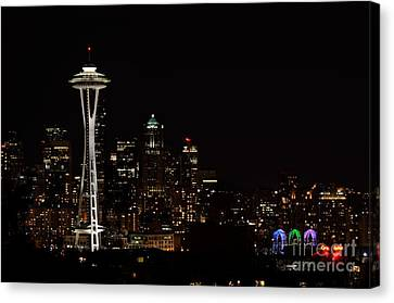 Seattle At Night Canvas Print by Alan Clifford