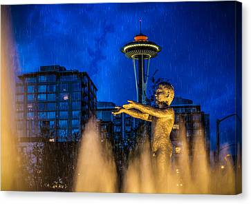 Canvas Print featuring the photograph Seattle Rain Boy by Ken Stanback