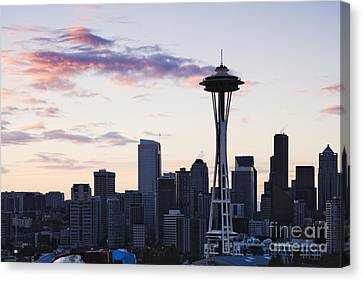 Seattle Skyline At Dusk Canvas Print by Jeremy Woodhouse