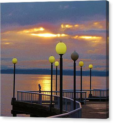 Seattle Sunburst Canvas Print by Feva  Fotos