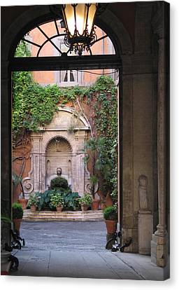 Canvas Print featuring the photograph Secret View In Rome by Vikki Bouffard