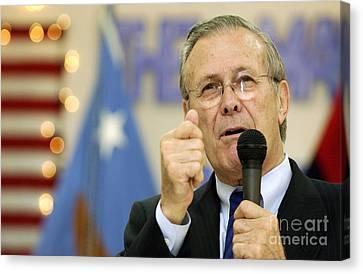 Secretary Of Defense Donald H. Rumsfeld Canvas Print by Stocktrek Images