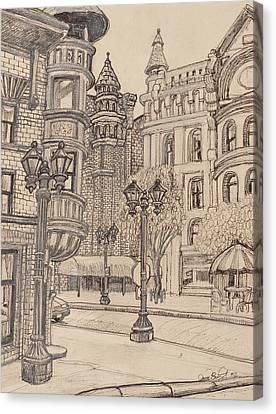 Lamp Post Canvas Print - Selby Corner by David Bratzel
