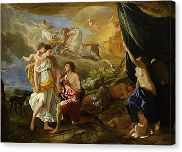 Selene And Endymion Canvas Print by Nicolas Poussin
