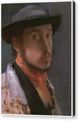 Self-portrait In A Soft Hat Canvas Print by Edgar Degas