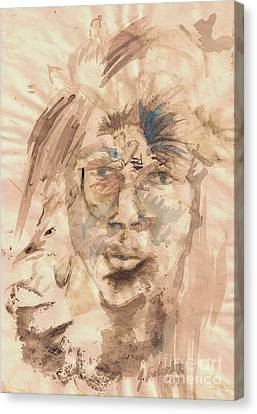Self Portrait Ink And Beet Canvas Print by Jamey Balester