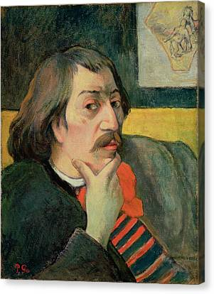 Chin On Hand Canvas Print - Self Portrait by Paul Gauguin