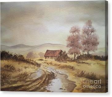 Canvas Print featuring the painting Selo Poslije Kise by Eleonora Perlic