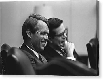 Sen. Robert Kennedy And Ted Sorenson Canvas Print by Everett