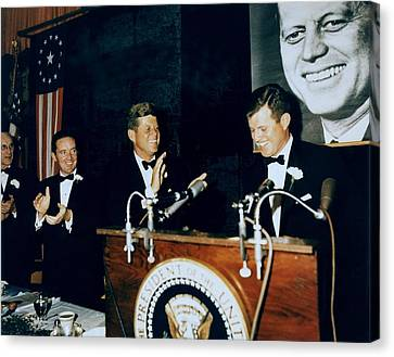 Senator Kennedy Canvas Print - Senator Edward Kennedy Introduces by Everett