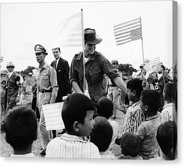 Senator Edward Kennedy, Touring Ban Me Canvas Print by Everett