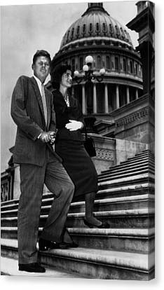 Senator John F. Kennedy, And Jacqueline Canvas Print by Everett