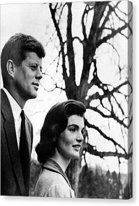 Senator John F. Kennedy, Jackie Canvas Print by Everett
