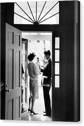 Senator John F. Kennedy Right, Jackie Canvas Print by Everett