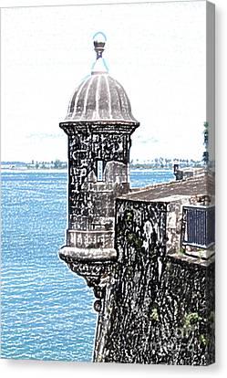 Sentry Tower Castillo San Felipe Del Morro Fortress San Juan Puerto Rico Colored Pencil Canvas Print