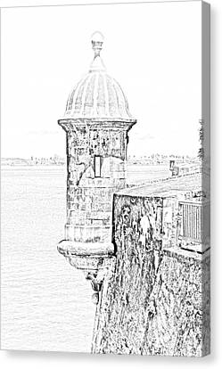 Sentry Tower Castillo San Felipe Del Morro Fortress San Juan Puerto Rico Line Art Black And White Canvas Print by Shawn O'Brien