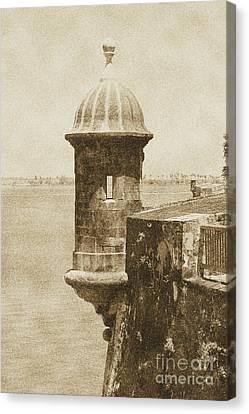 Sentry Tower Castillo San Felipe Del Morro Fortress San Juan Puerto Rico Vintage Canvas Print