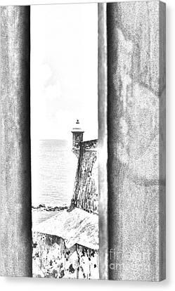Sentry Tower View Castillo San Felipe Del Morro San Juan Puerto Rico Black And White Line Art Canvas Print