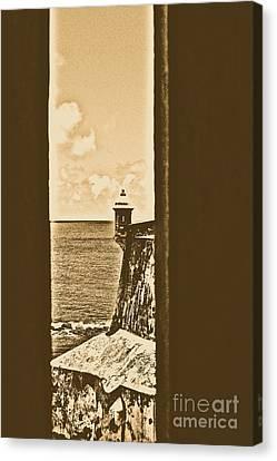 Sentry Tower View Castillo San Felipe Del Morro San Juan Puerto Rico Rustic Canvas Print