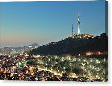 Seoul Tower At Night Canvas Print by Tokism