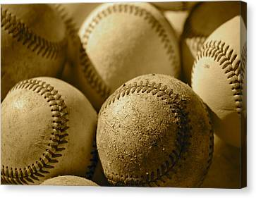 Sepia Baseballs Canvas Print by Bill Owen