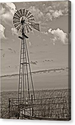 Sepia Windmill And Tank Canvas Print by Tony Grider