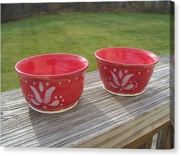Set Of Small Red Bowls Canvas Print by Monika Hood