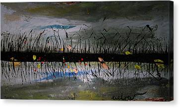 Set On The Firth Marshes Of Karalino Bugaz Goodbye Winter Canvas Print by Alik Vetrof