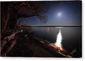 Setting Moon Canvas Print by Everet Regal