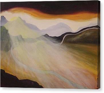 Setting Sun Along The Highway Canvas Print by Robert Handler