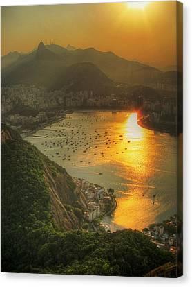 Lush Foliage Canvas Print - Setting Sun Over Botafogo by by AJ Brustein