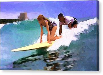 Setting Up The Tandem Canvas Print by Ron Regalado