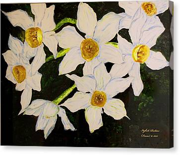 Canvas Print featuring the painting Seven Daffodils by Itzhak Richter