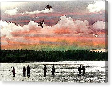 Seven Fishermen Canvas Print by Carrie OBrien Sibley