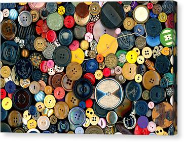 Sewing - Buttons - Bunch Of Buttons Canvas Print by Mike Savad