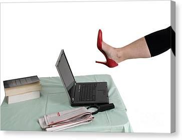 Sexy Woman Kicks A Laptop  Canvas Print by Ilan Rosen