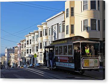 Sf Cable Car Canvas Print by Cedric Darrigrand