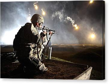 Sgt. Larry J. Isbell During The Armys Canvas Print by Everett