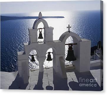 Shadows Of Santorini Canvas Print by Leslie Leda