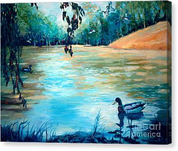 Canvas Print featuring the painting Shady Springs Pond by Gretchen Allen