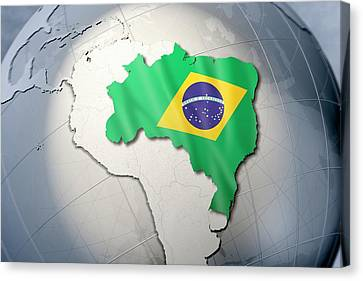 Shape And Ensign Of Brazil On A Globe Canvas Print by Dieter Spannknebel