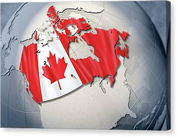 Shape And Ensign Of Canada On A Globe Canvas Print by Dieter Spannknebel