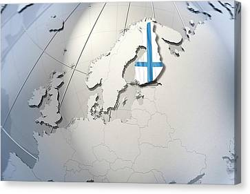 Shape And Ensign Of Finland On A Globe Canvas Print by Dieter Spannknebel