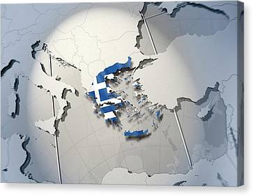 Shape And Ensign Of Greece On A Globe Canvas Print by Dieter Spannknebel