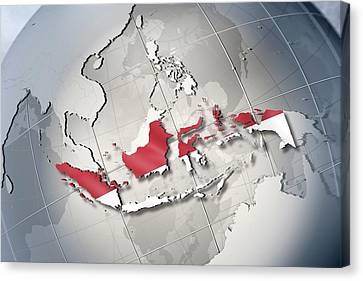 Shape And Ensign Of Indonesia On A Globe Canvas Print by Dieter Spannknebel