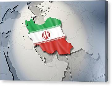 Shape And Ensign Of Iran On A Globe Canvas Print by Dieter Spannknebel