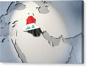Shape And Ensign Of Iraq On A Globe Canvas Print by Dieter Spannknebel