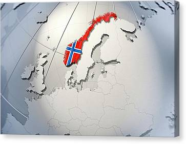 Shape And Ensign Of Norway On A Globe Canvas Print by Dieter Spannknebel