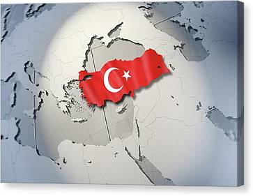 Shape And Ensign Of Turkey On A Globe Canvas Print by Dieter Spannknebel